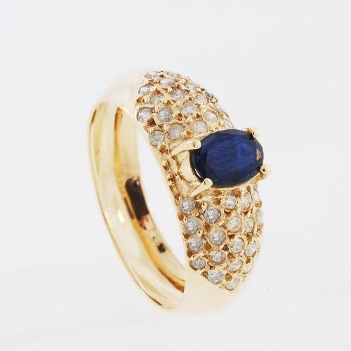 anel ouro 18k com safira natural e diamantes mod. cj1044