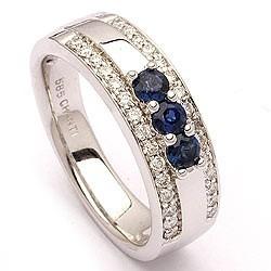anel ouro 18k com safiras e diamantes mod. cj1375