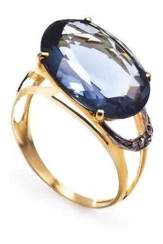 anel ouro 18k com topazio e diamantes mod. cj1118
