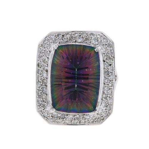 anel ouro 18k com topázio mistico e diamantes mod. cj1226