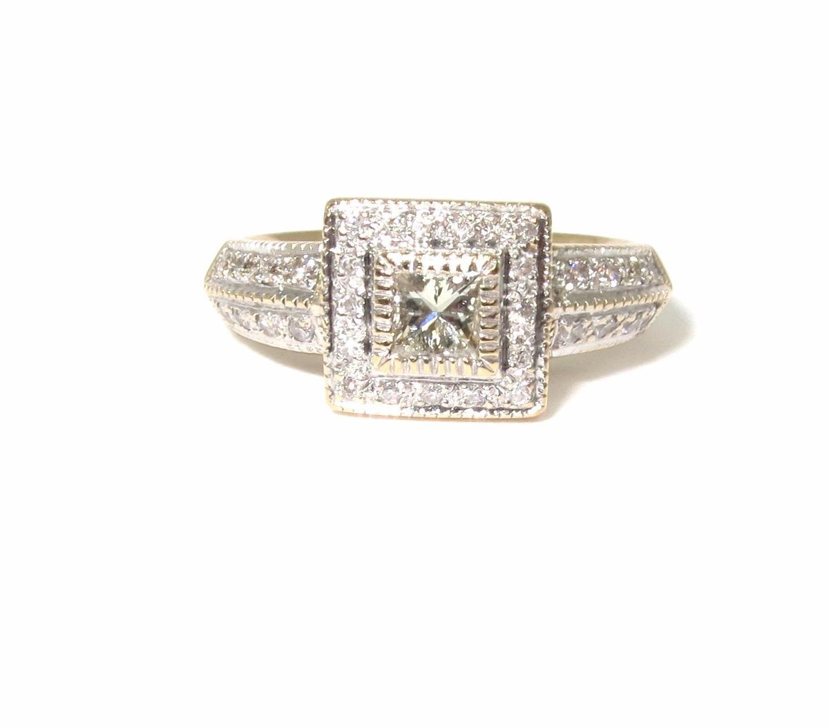 anel ouro 18k e 43 pontos de diamantes   princess. Carregando zoom. 94572be2044