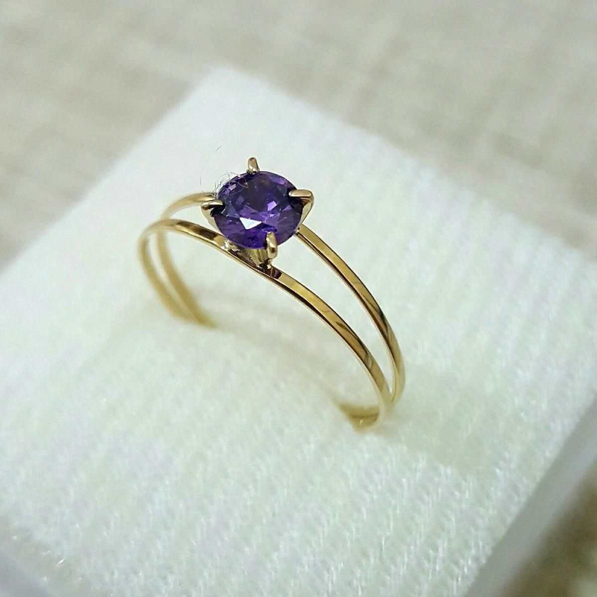 27a7e9e2519aa anel ouro 18k maciço solitário pedra natural ametista. Carregando zoom.