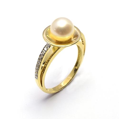 891e066d3 Anel Ouro 18k Pérola E Diamantes - R$ 1.940,00 em Mercado Livre