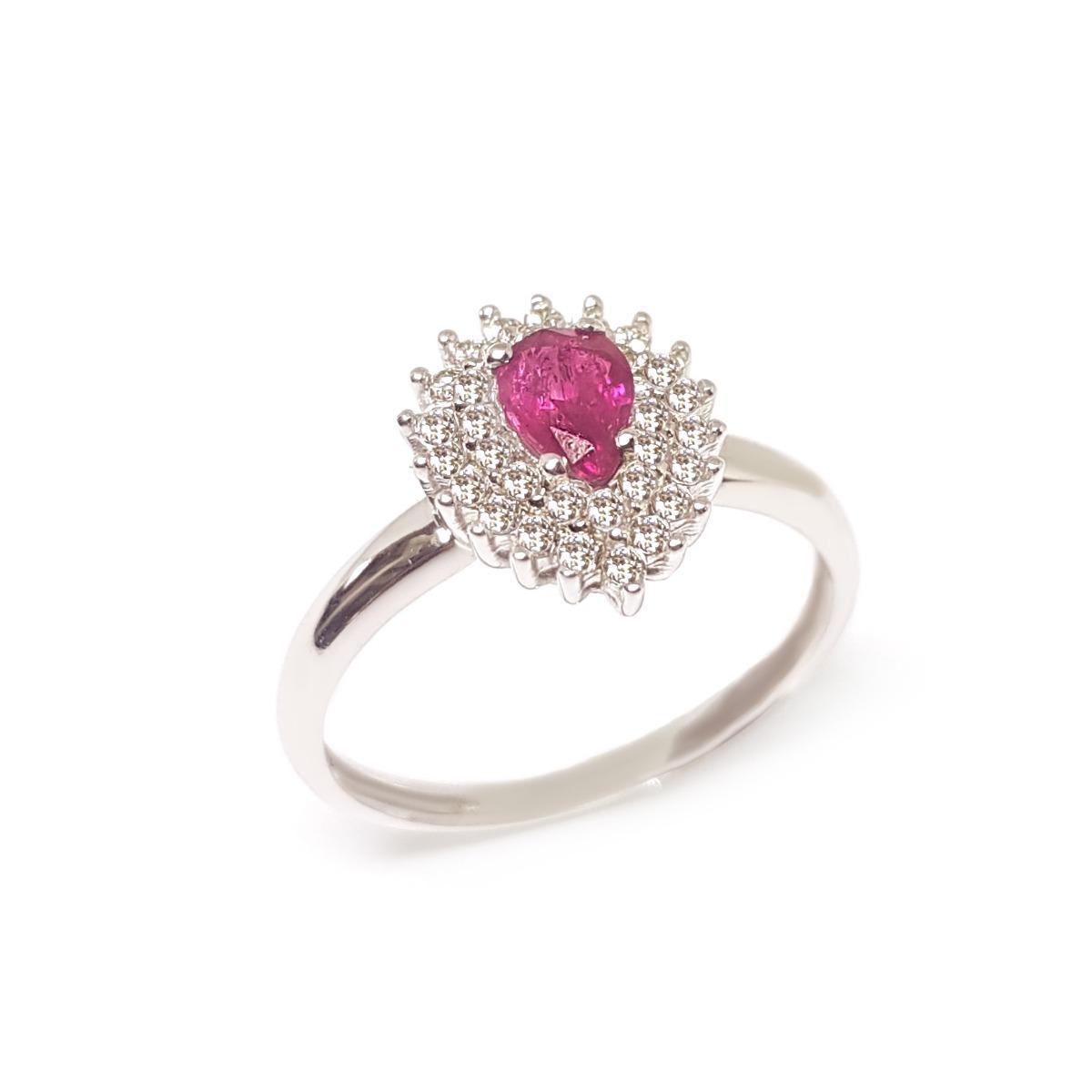 24ba587b5f8 anel ouro branco 18k 750 com diamantes e gota rubi. Carregando zoom.