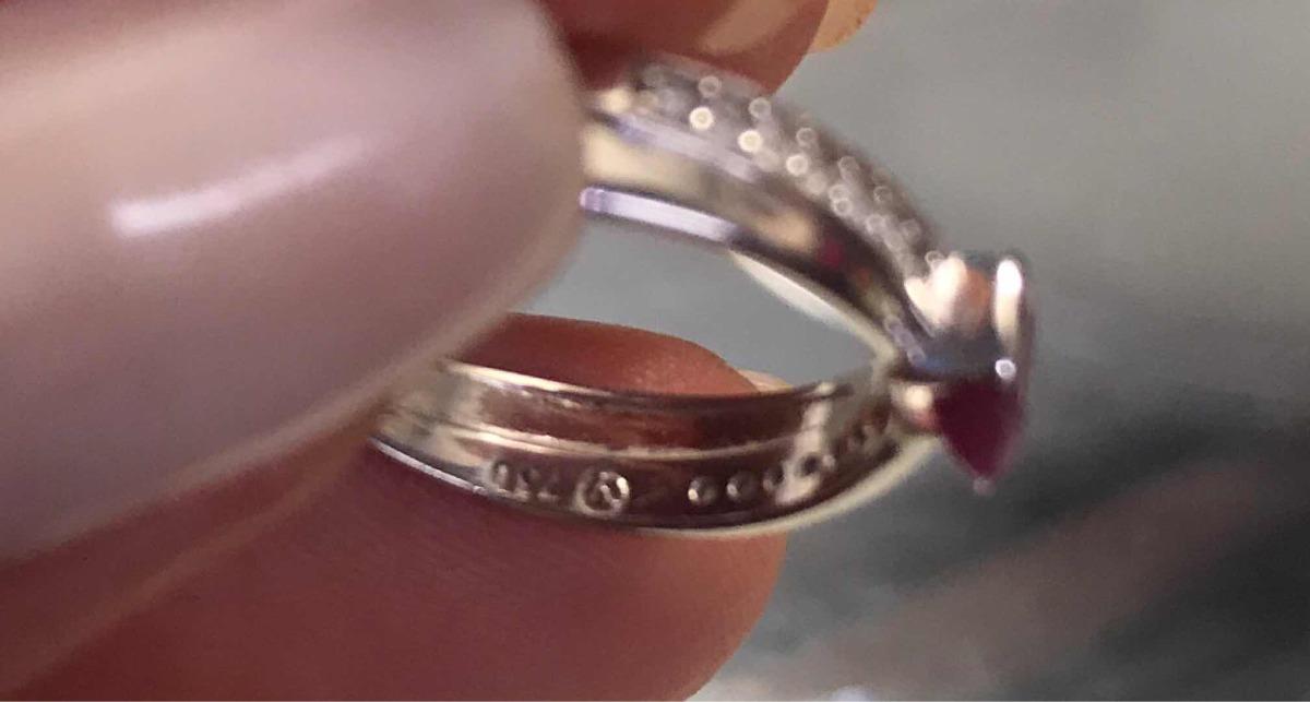 Anel Ouro Branco Diamantes E Rubi Vivara - R  1.140,00 em Mercado Livre 53dc5da93b