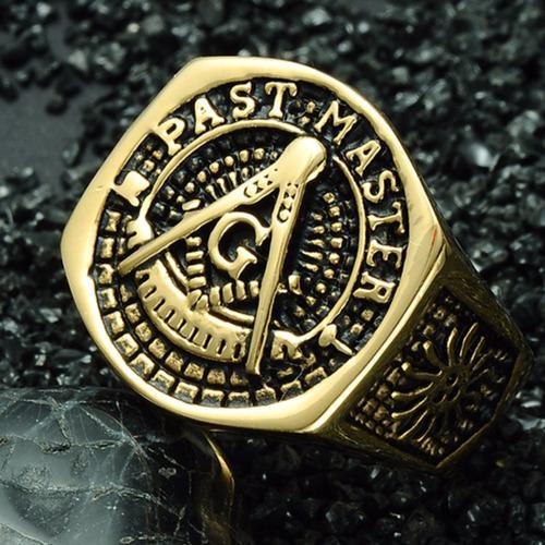 anel ouro maçonaria aço