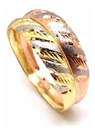 anel  ouro rosa e amarelo 18k e ródio feminino  21491