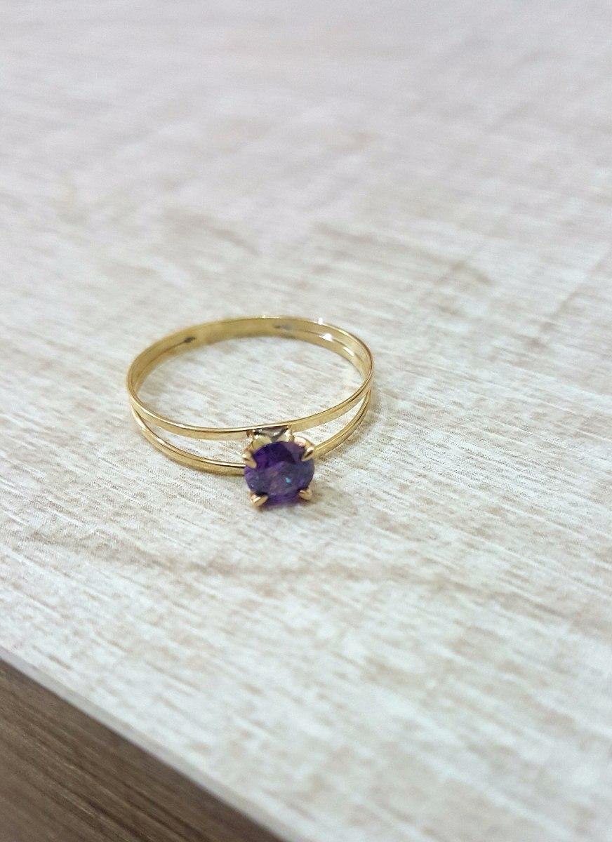 63a62f8883358 Carregando zoom... ouro solitário anel · anel ouro 18k maciço solitário  pedra natural ametista