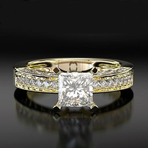 anel ouro solitário