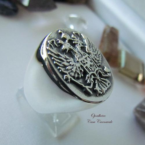 anel oval aguia bicefala em prata maciça ojoalheiro