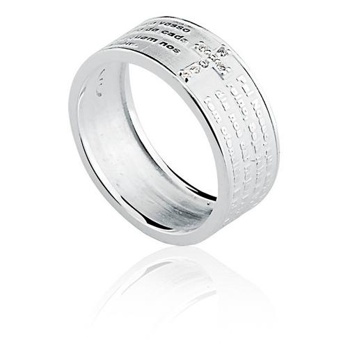 anel pai nosso de prata 925  dr-270055