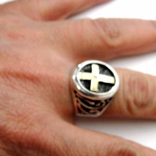 anel papa francisco catolico prata 925 e filete em ouro 1237