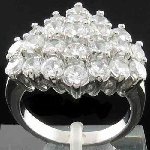 anel pave folheado ouro branco 14k