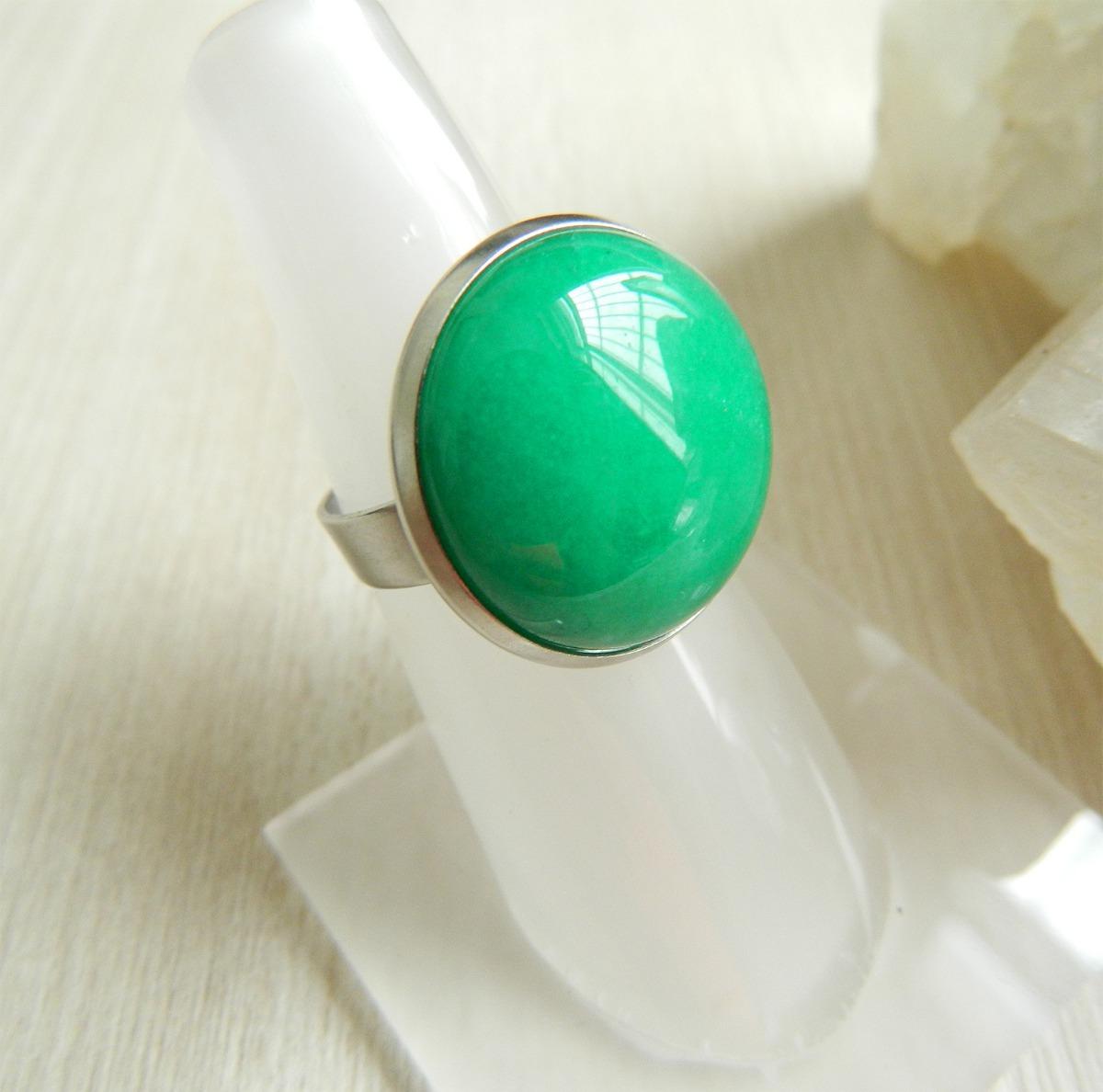 c7e8e2976b4 anel pedra ágata verde aço inoxidável regulável. Carregando zoom.