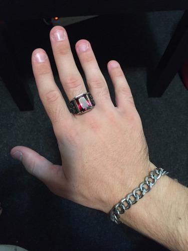 anel pedra cz vermelho de aço inoxidável