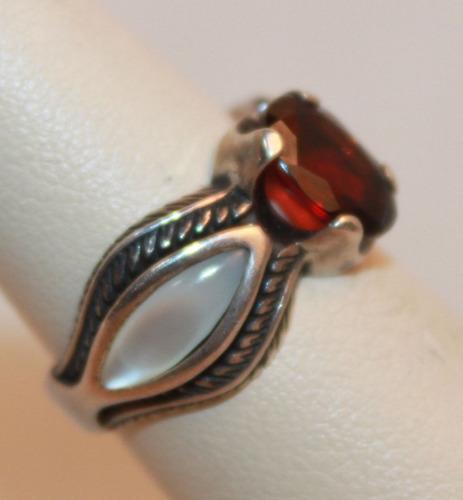 anel pedra granada australiana madre perola