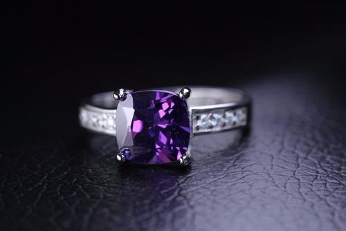 anel pedra roxa prata 925 noivado compromisso ajustável