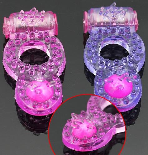 anel peniano com vibrador em jelly c/ estimulador clitoriano