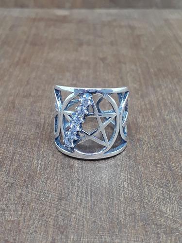 anel pentagrama zircônia 6.6 ag925