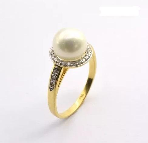 141346d6cc4 Anel Pérola Ouro 18k 750 Maciço Com 28 Diamantes Brilhantes - R  990