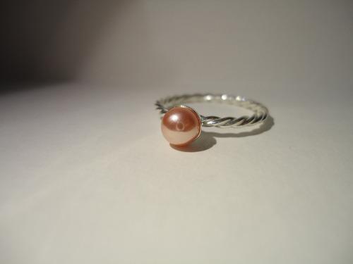 anel perola rosa - prata de lei