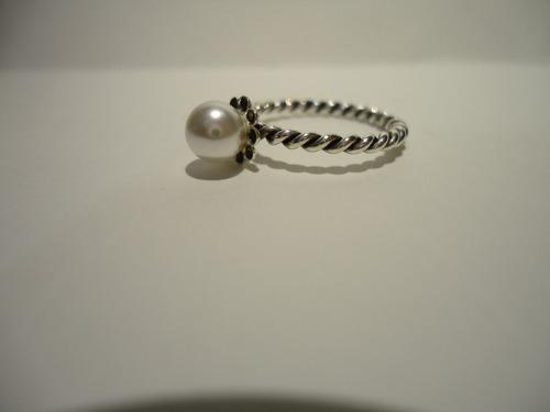 anel  perola trançado - prata de lei