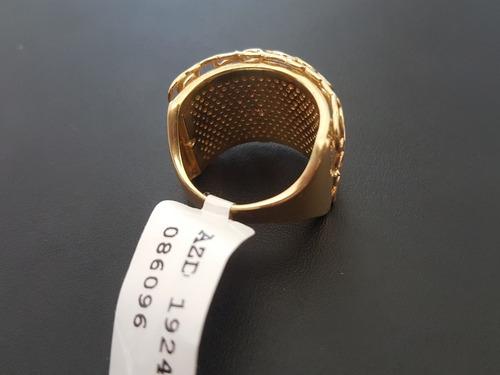 anel pesado largo em ouro 18k com 292 brilhantes
