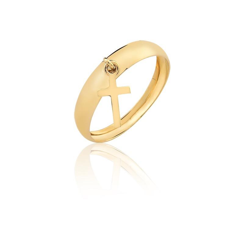 Anel Pingente Cruz Ouro 10k Puro - R  239,00 em Mercado Livre d52add206d