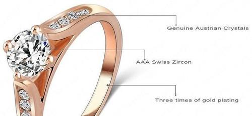 anel platinum  folheado a ouro rosê 18k com cristais aust...