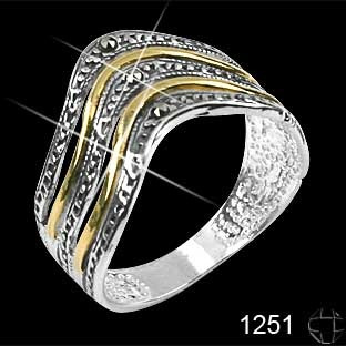 anel prata 0,925 com marcassitas detalhes folheados-nr16/17