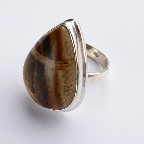 anel prata 925 com jaspe picture natural 8439