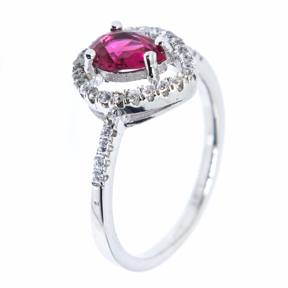 906936a079ae9 anel prata 925 - delicado - gota - vermelho. Carregando zoom.