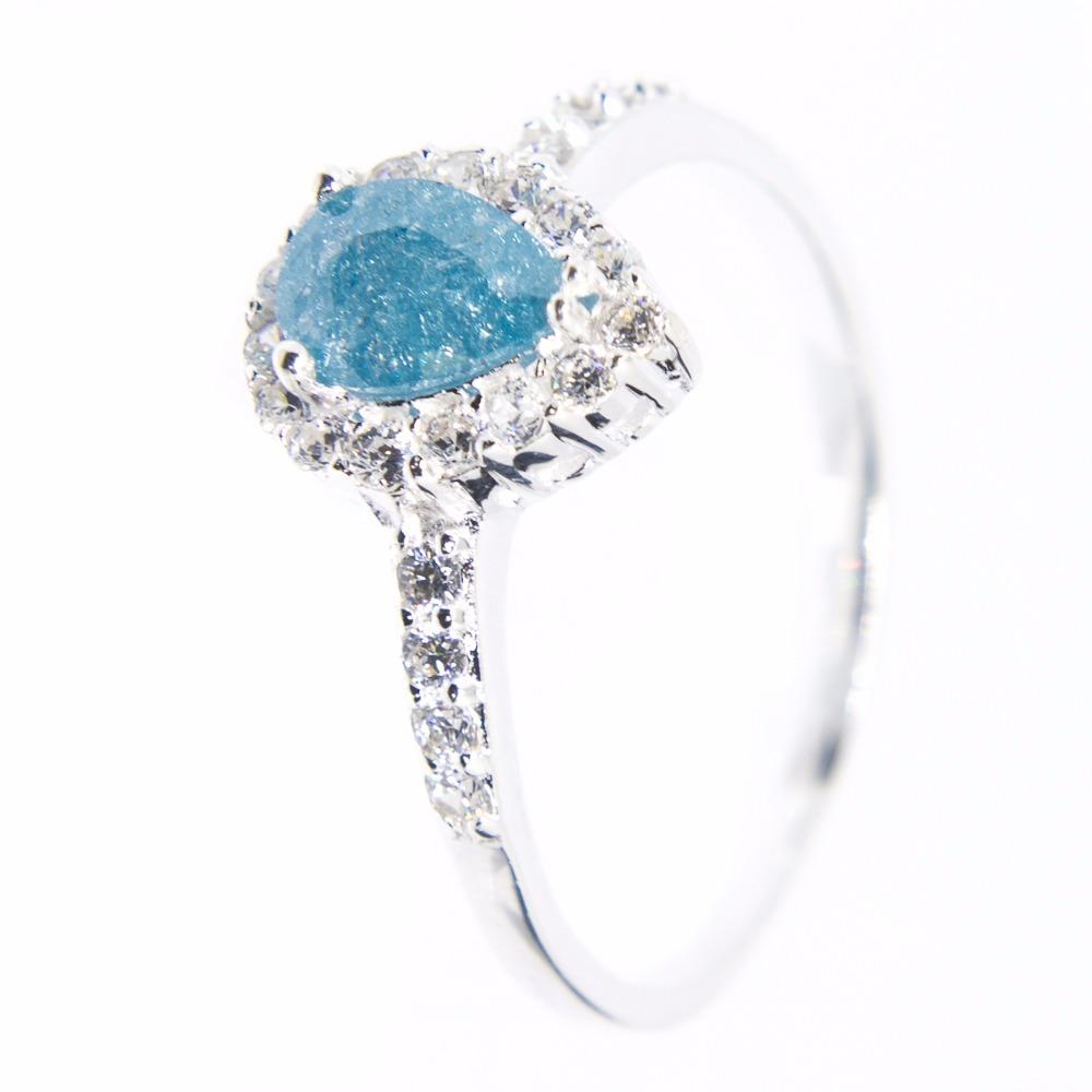 dd1ba1aa53790 anel prata 925 - gota - delicado - azul opaco. Carregando zoom.