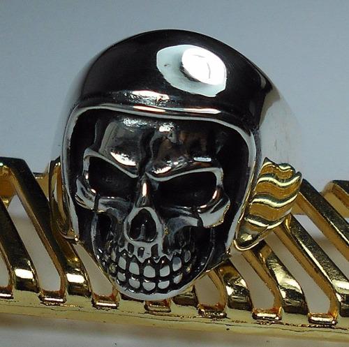 anel prata 925 masculino caveira capacete moto frete gratis