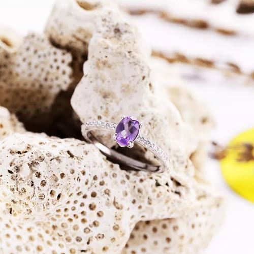 anel prata 925 solitário noivado pedra natural ametista
