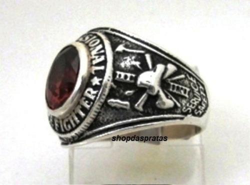 anel prata 925 trabalhado firefighter bombeiro - ma2037r