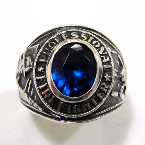 anel prata 925 trabalhado firefighter bombeiro - ma2037s
