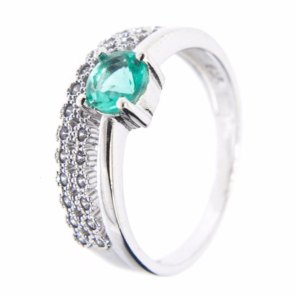 960f47503d0eb anel prata 925 - zircônias - pedra verde. Carregando zoom.