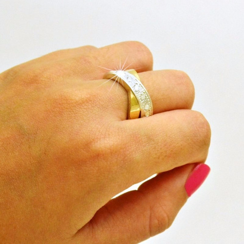 anel prata 950 2 apliques ouro puro feminino pedras zircônia