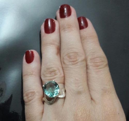 anel prata 950 c/ quartzo de topázio sky blue