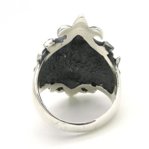 anel prata 950 caveira trabalhado com flor de lis lotus 2286