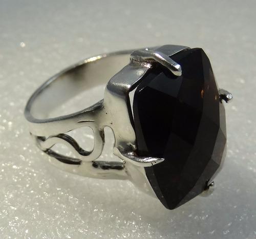 anel prata 950 com pedra quartzo fumê escuro