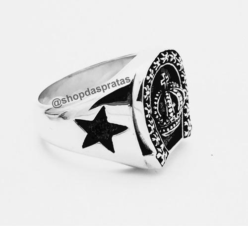 anel prata 950 maciço flor de lis coroa ferradura estrela ns
