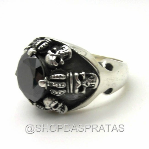 anel prata 950 medieval coroa caveira pedra onix - ma2776.12