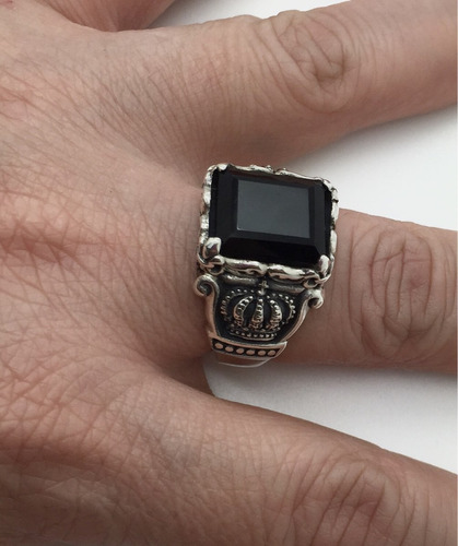 anel prata 950 medieval, coroa, caveira pedra onix templario