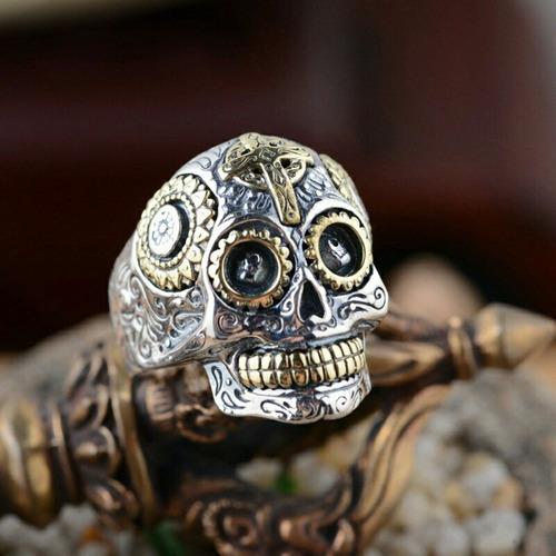 anel prata caveira