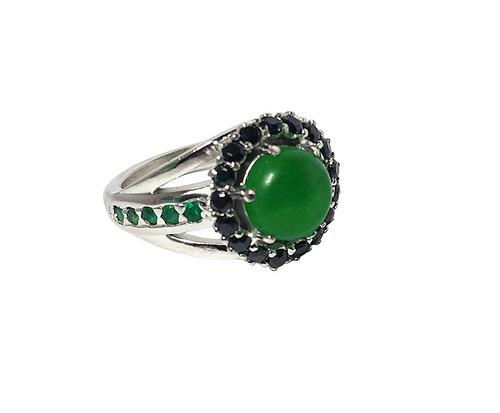 anel prata com jade, rodinada