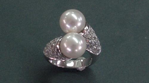 anel prata com perolas e zirconias fabrico proprio