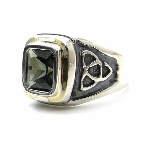 anel prata de lei 925 com ouro celta laterais pedra verde