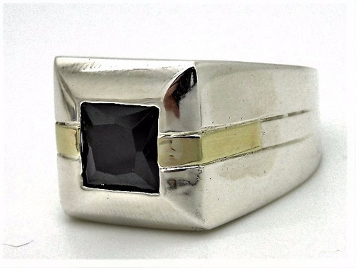 anel prata de lei 925 e ouro pedra onix a1307onix masculino